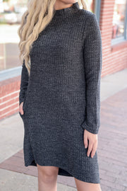 Mock Neck High Low Sweater Dress S-2X