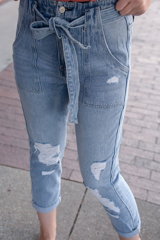 Super High Rise Distressed Tie Jeans *online & Pella Only