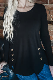 Black Wood Button Detail Top S-3X