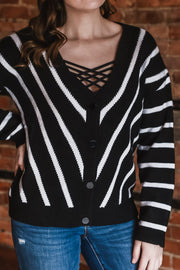 Chevron Stripe Sweater Cardigan S-2X