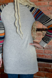 Multi Striped Sleeve Tunic Top S-2X