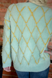 Mint Argyle Sweater S-L