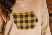 Yellow Buffalo Plaid Iowa Sweatshirt-Mustard