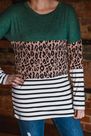 Green Leopard Color Block Top S-2X