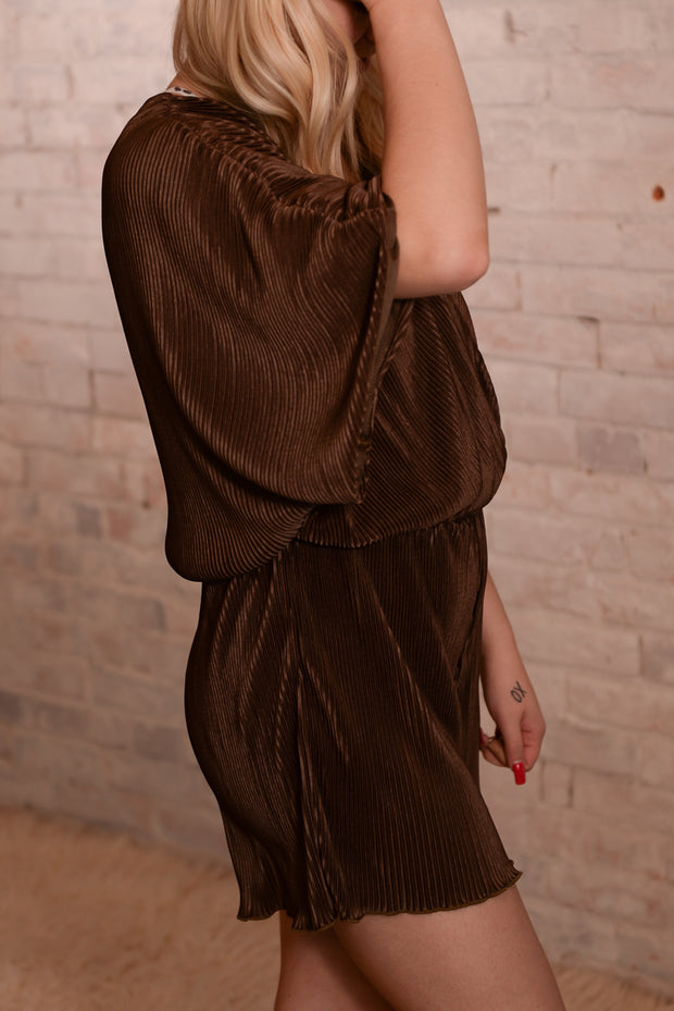 Olive Brown Pleated Romper S-L