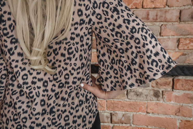 Animal Printed Front Tie Blouse S-2X-Top-9Lilas