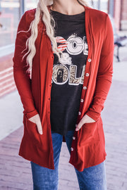 Red Ribbed Pocket Cardigan S-2X