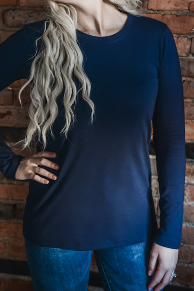 Cotton Crew Neck Long Sleeve Top S-3X