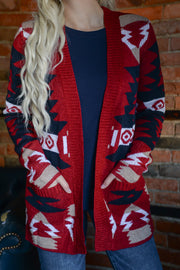 Navajo Knit Pocket Cardigan S-XL