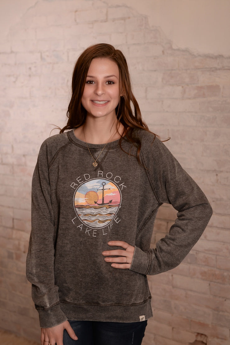 Sunset Motif Red Rock Sweatshirt S-2X