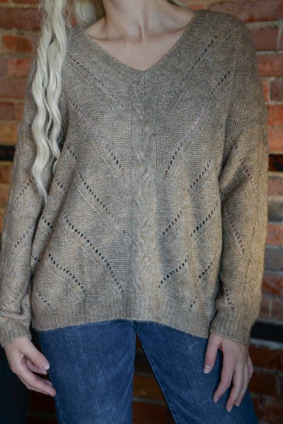 Taupe Cable Open Knit Sweater S-L