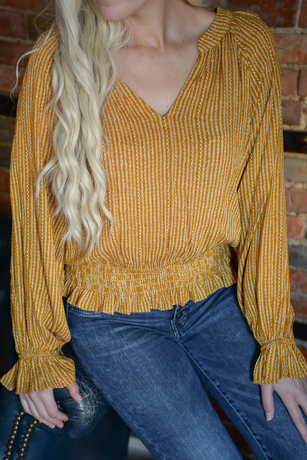 Mustard Ruched Detail Top S-L