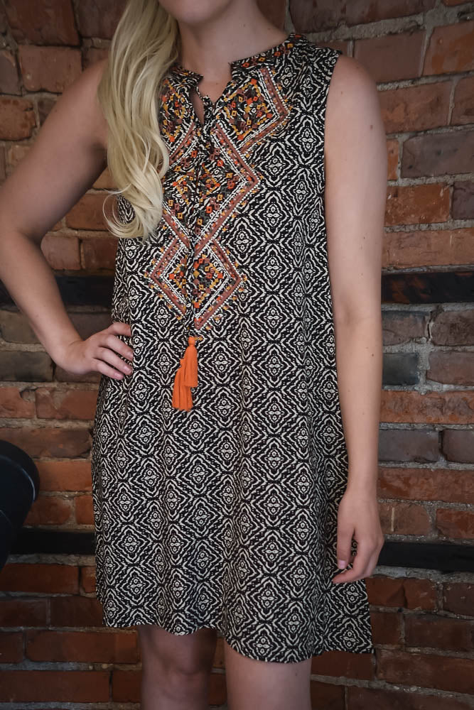 Embroidered Geo Print Dress S-2X
