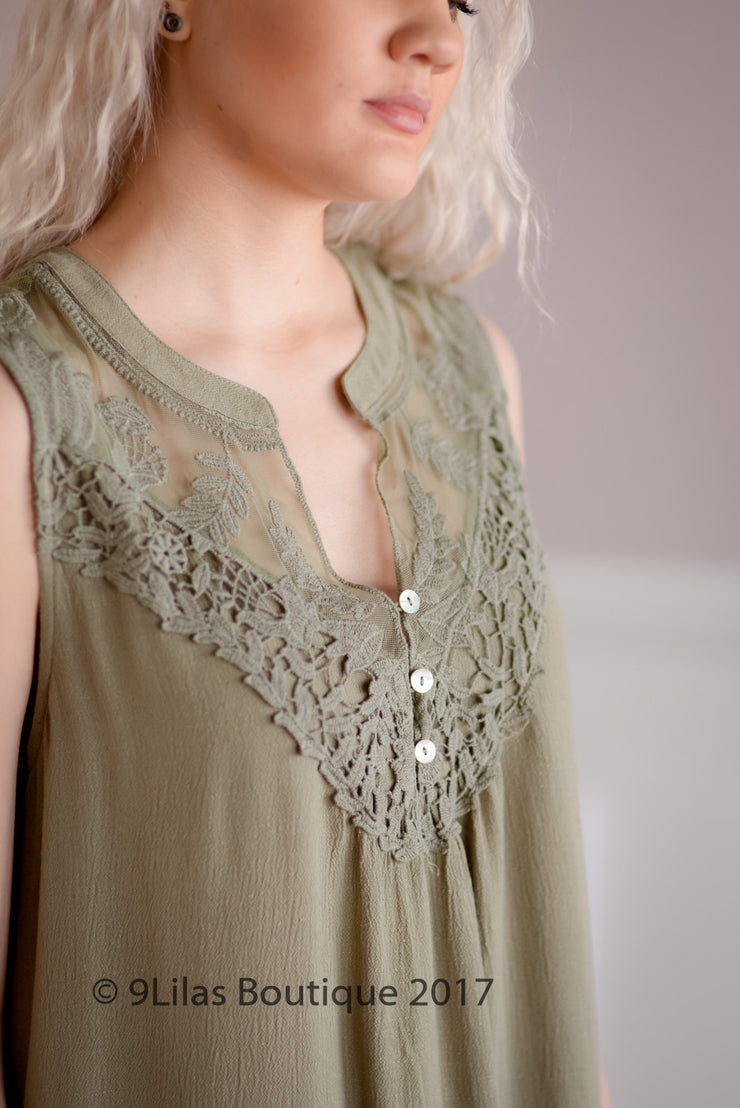 Olive Sleeveless Dress with Lace Detail