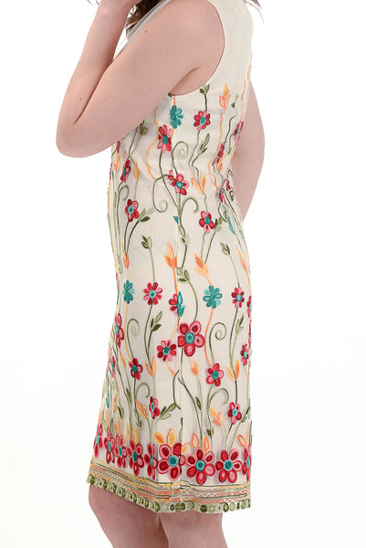 Floral Waterfall Embroidered Dress