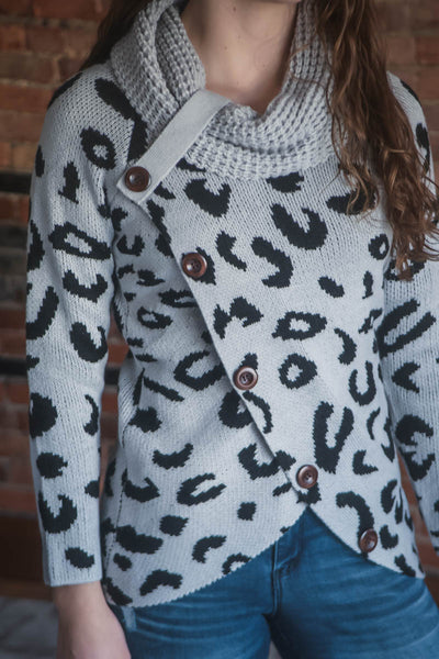 Grey Leopard Button Cowl Sweater S-2X