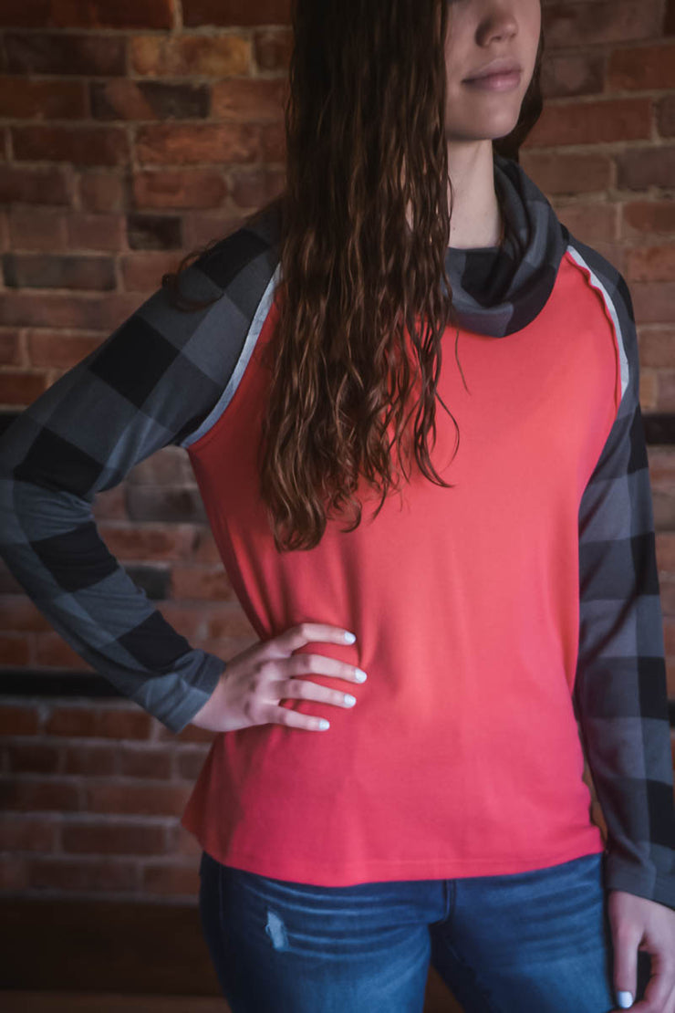 Coral Plaid Cowl Top S-2X