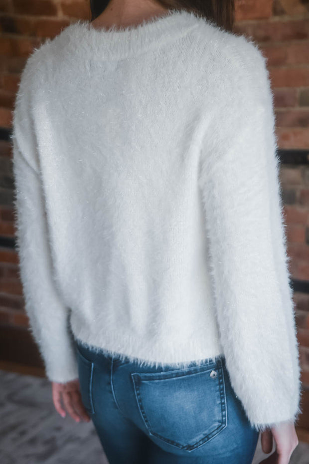 White Shimmer Fuzzy Sweater S-XL