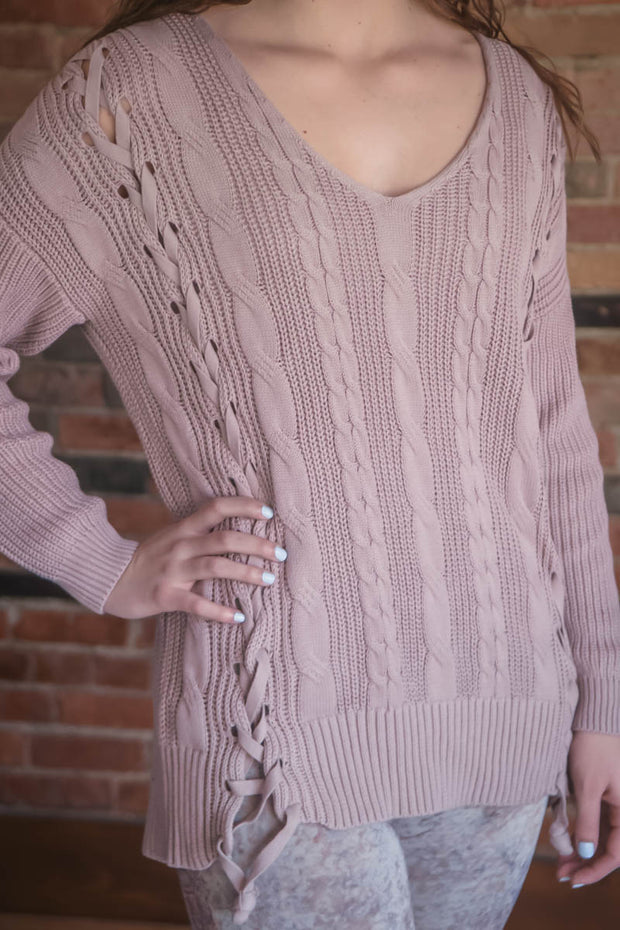 Blush Pink Lace Up Detail Sweater S-L