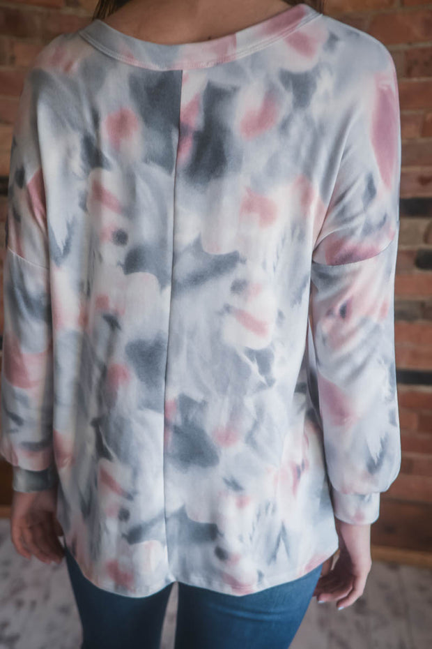 Washed Tie Dye Button Top S-3X