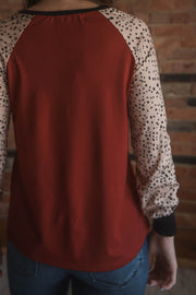 Red Dalmatian Sleeve Top S-XL