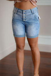 Light Denim Boyfriend Shorts