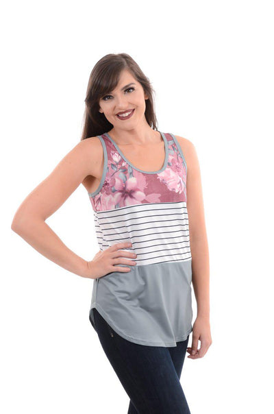 Floral, Olive & Stripe Color Block Tank S-2X-Tank-9Lilas