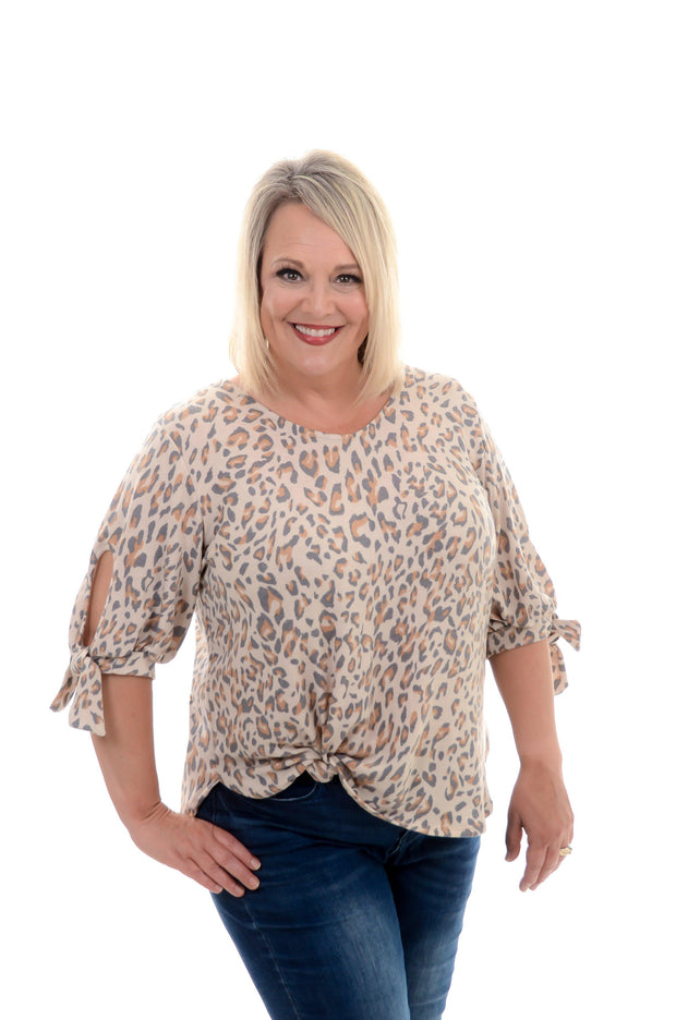 Taupe Tie Sleeve Leopard Top-Top-9Lilas