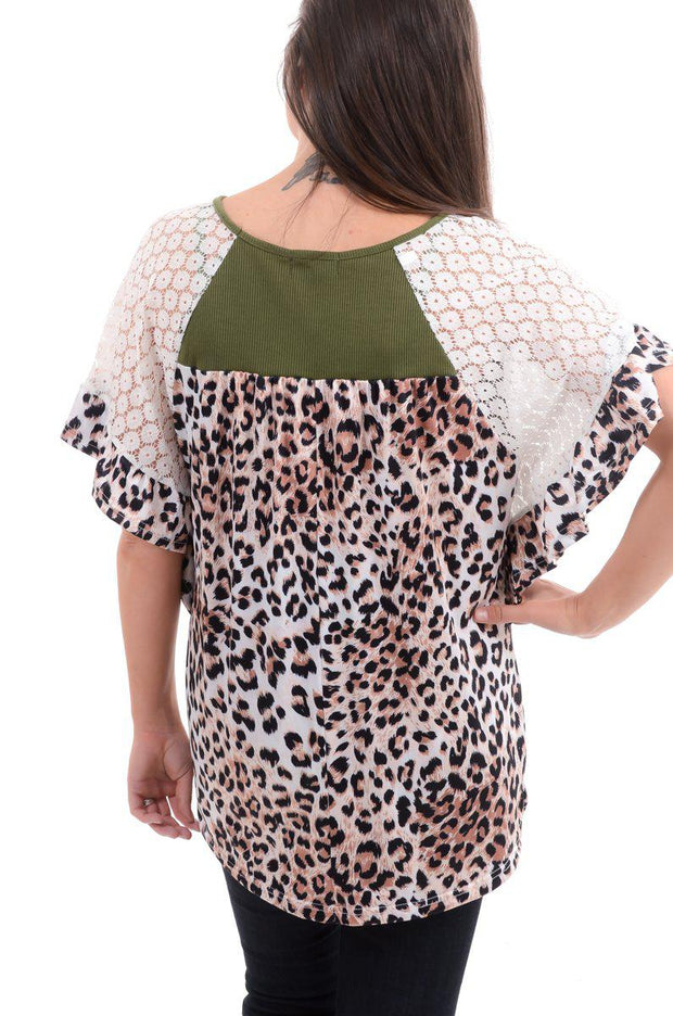 Olive Ruffle & Lace Leopard Top-Top-9Lilas