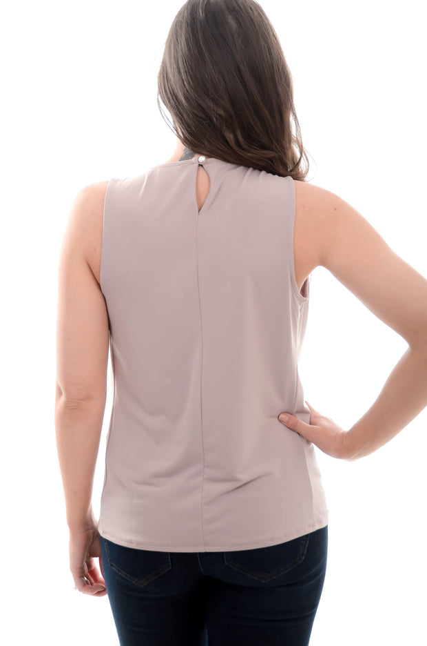 Taupe Pleated Tank S-3X-zenana-9Lilas