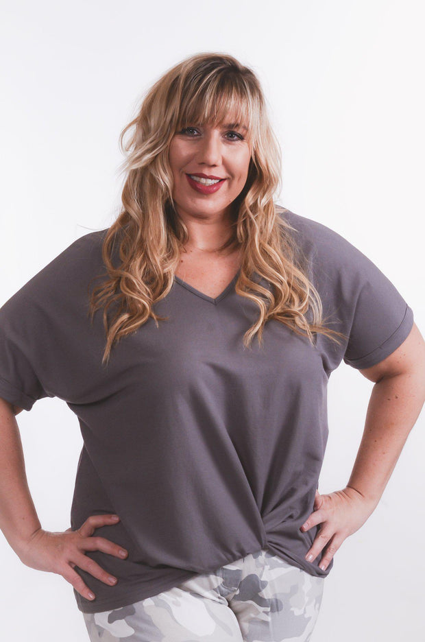 Gray Front Twist Top S-2X-Top-9Lilas