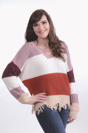 Color Block Distressed Sweater S-XL-Sweater-9Lilas
