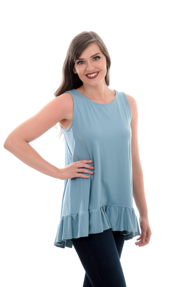 Brushed Hi-Low Ruffle Tank S-3X-zenana-9Lilas