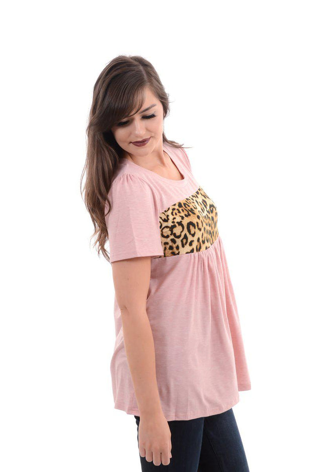 Pink Pleated & Ruffle Leopard Top S-2X-Top-9Lilas