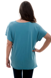 Dusty Teal Front Tie Top S-3X-zenana-9Lilas