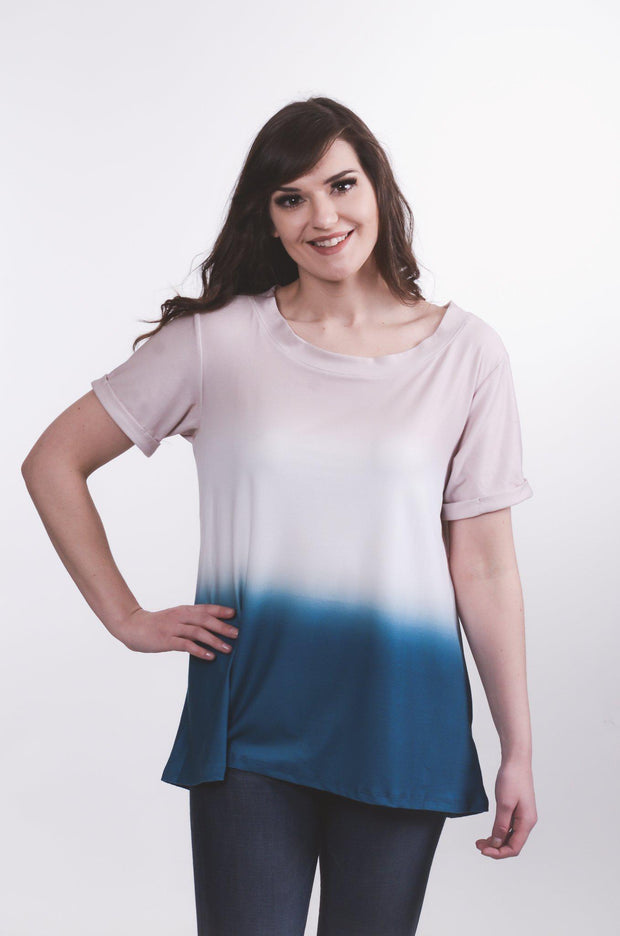 Blue Dip Dyed Top S-2X-Top-9Lilas