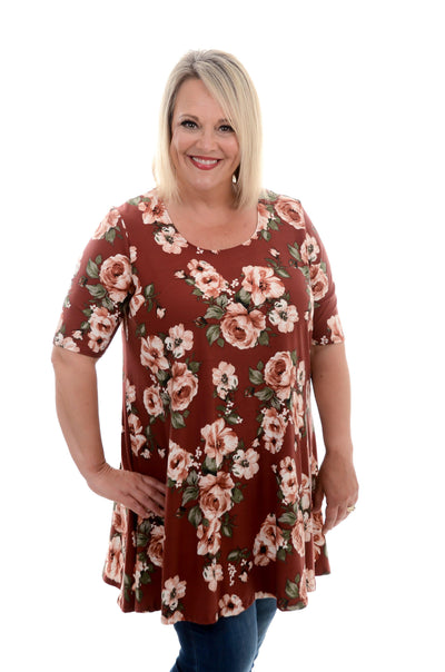Rust Floral Tunic Dress 1X-3X-Dress-9Lilas