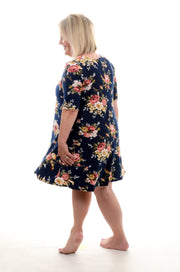 Blue Floral Tunic Dress 1X-3X-Dress-9Lilas