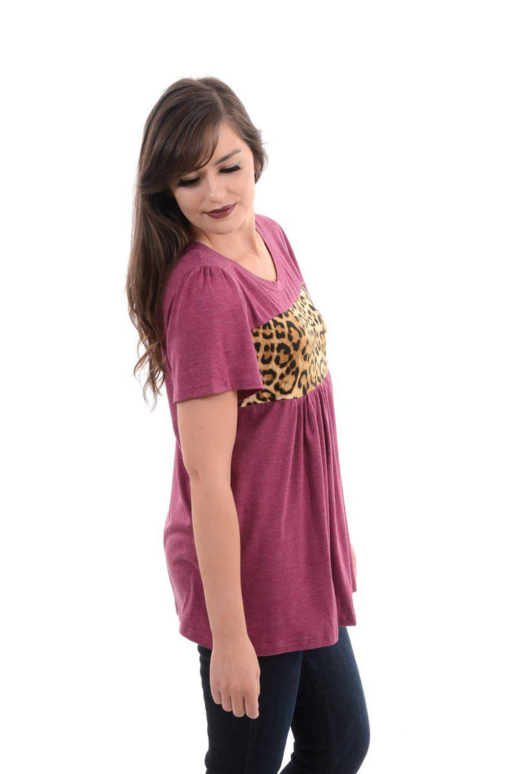 Maroon Pleated & Ruffle Leopard Top S-2X-Top-9Lilas
