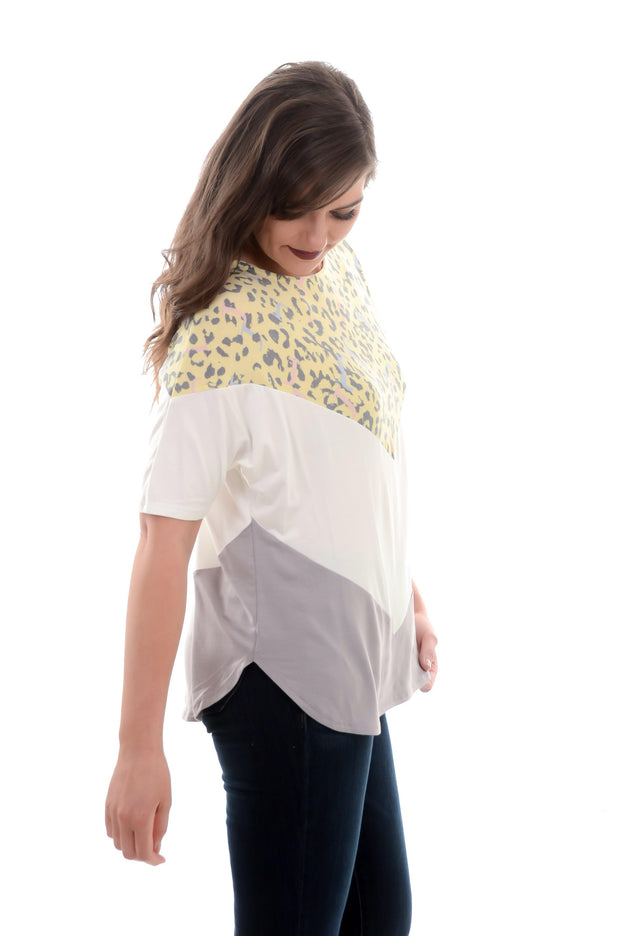 Yellow Chevron Animal Print Top-Shirt-9Lilas