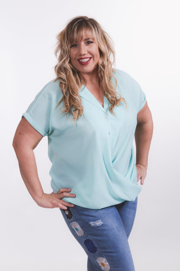 Front Tucked Surplice Blouse S-2X-blouse-9Lilas