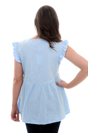 Blue Embroidered Ruffle Tank-Shirt-9Lilas