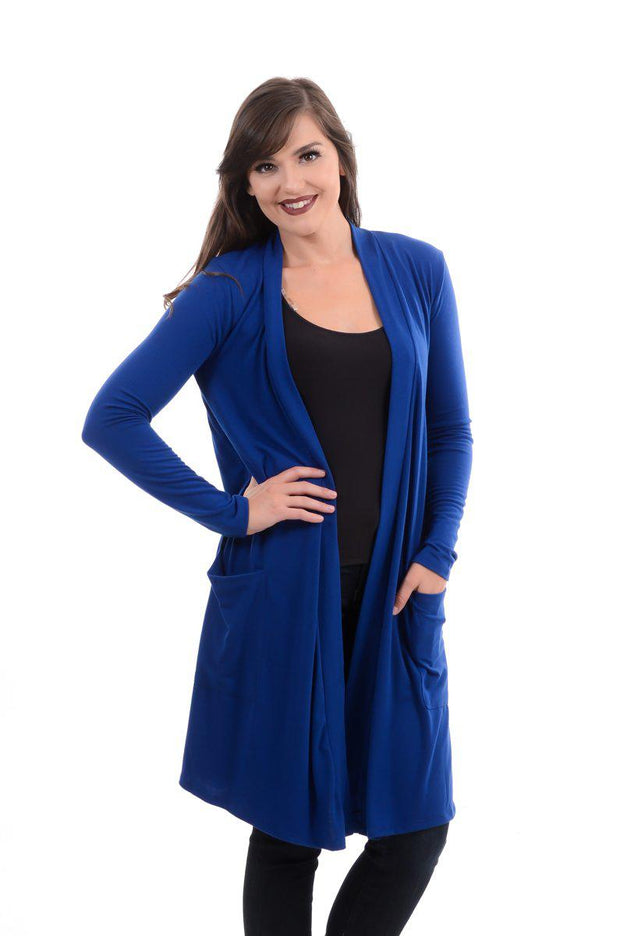 Slouchy Pocket Open Cardigan- Royal Blue S-3X-Cardigan-9Lilas