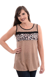 Taupe Leopard Panel Tank S-2X