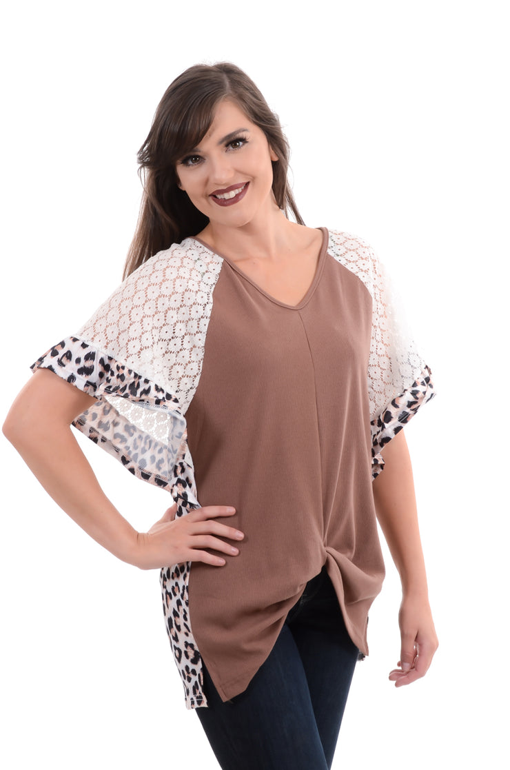 Taupe Ruffle & Lace Leopard Top S-3X-Top-9Lilas