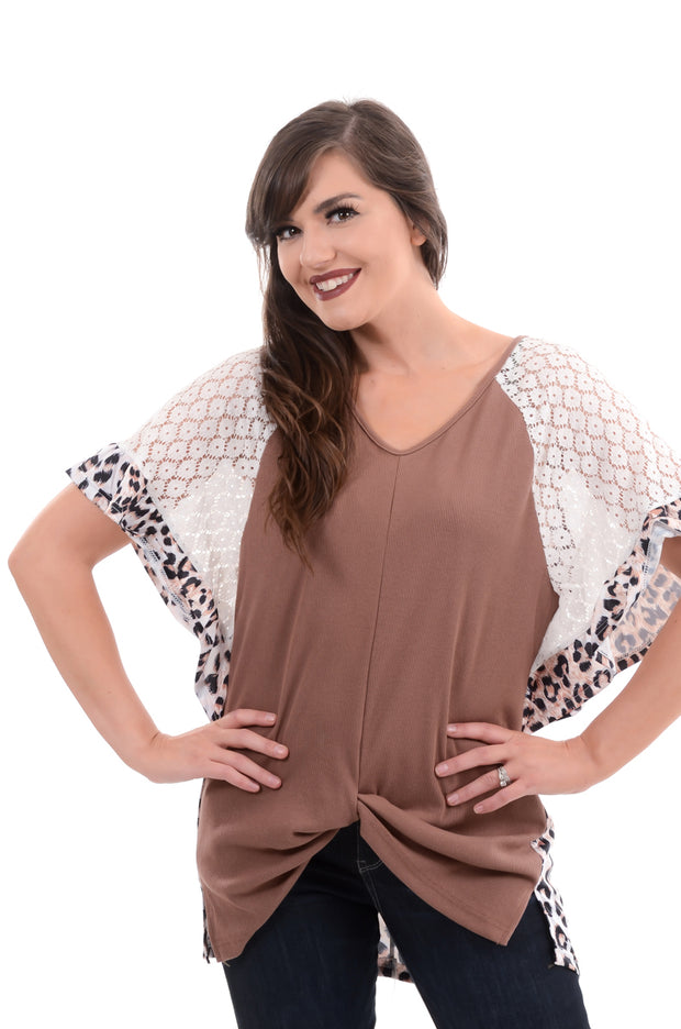 Taupe Ruffle & Lace Leopard Top S-3X