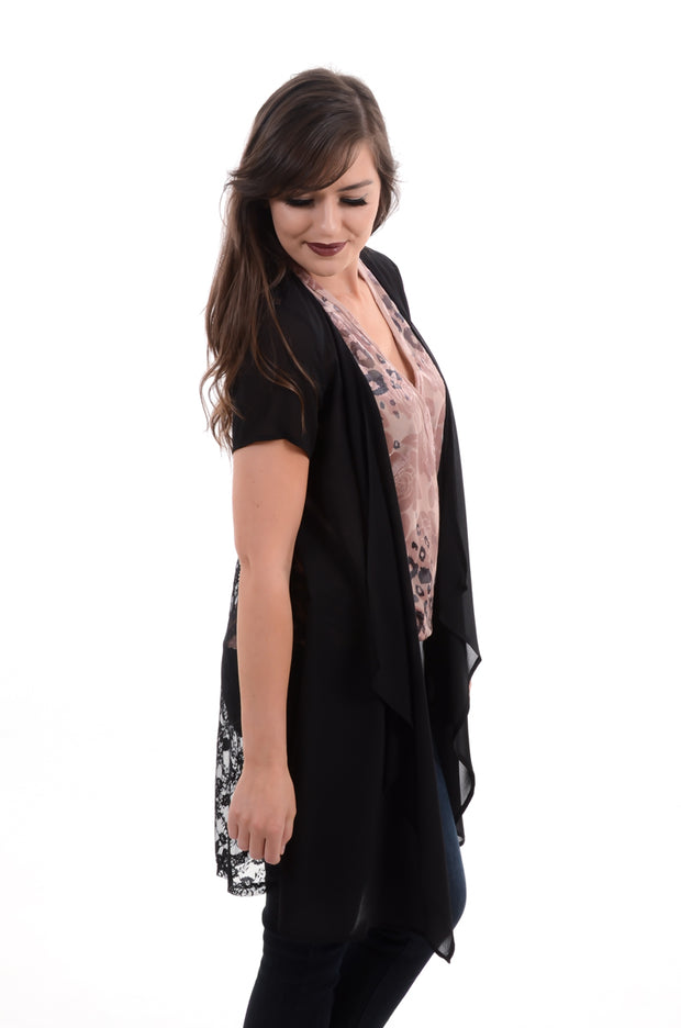 Black Lace Back Cardigan S-3X-Cardigan-9Lilas