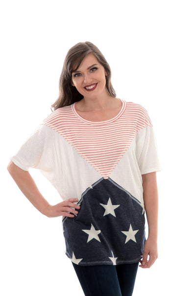 Stars & Stripes Triangle Color Block Top S-XL-Top-9Lilas