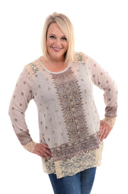 Cream Jeweled Lace Top 1X-3X-Top-9Lilas