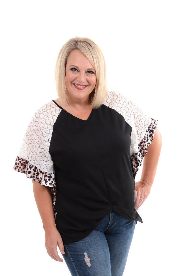 Black Ruffle & Lace Leopard Top S-3X-Top-9Lilas